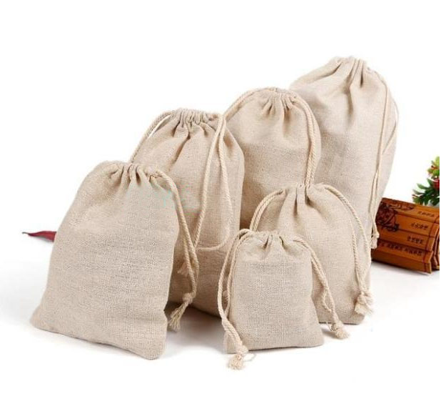 Natural Linen Gift Bag 8x10cm 9x12cm 10x15cm Pack Of 50 Birthday Wedding Party Candy Sack Jewelry Jute Gift Drawstring Pouch