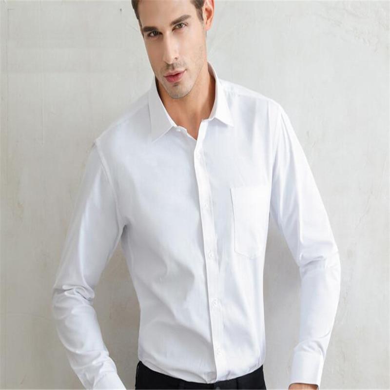 Weißes Herrenhemd mit langen Ärmeln / Günstige Slim Fit Hemden - Herrenbekleidung - Foto 5