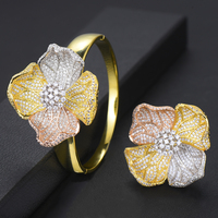 Bracelet Ring Sets Bridal Wedding Engagement Party Jewelry Luxury Exquisite Big Blooming Flowers Micro Cubic Zirconia