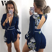 WYHHCJ 2018 Backless Print Playsuits Women Elegant Summer Deep V Neck Jumpsuits Rompers Sexy Lace Up