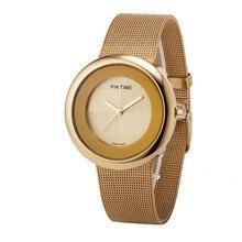 2016 Nuevas Llegadas Correa Mujer Relojes de Cuarzo-Reloj de Acero Inoxidable Relojes de Las Mujeres Señoras Del Reloj de Oro Reloj Del Relogio Feminino