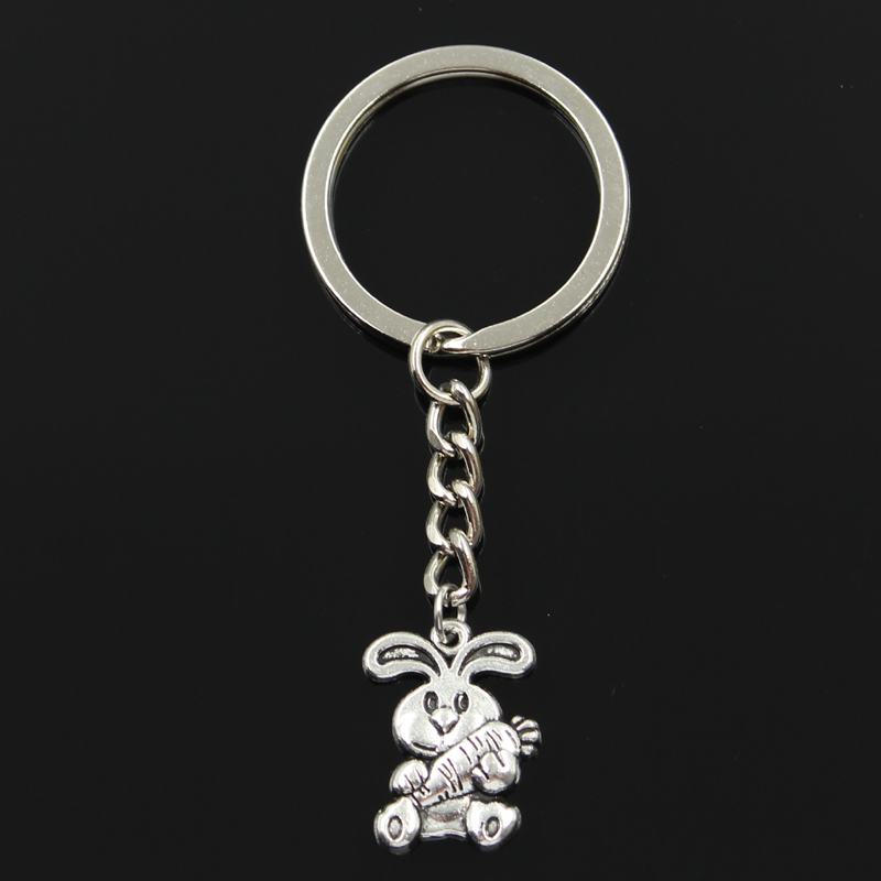 Fashion 30mm Key Ring Metal Key Chain Keychain Jewelry Antique Silver Color Plated Rabbit Bunny Carrot Easter 21x15mm Pendant