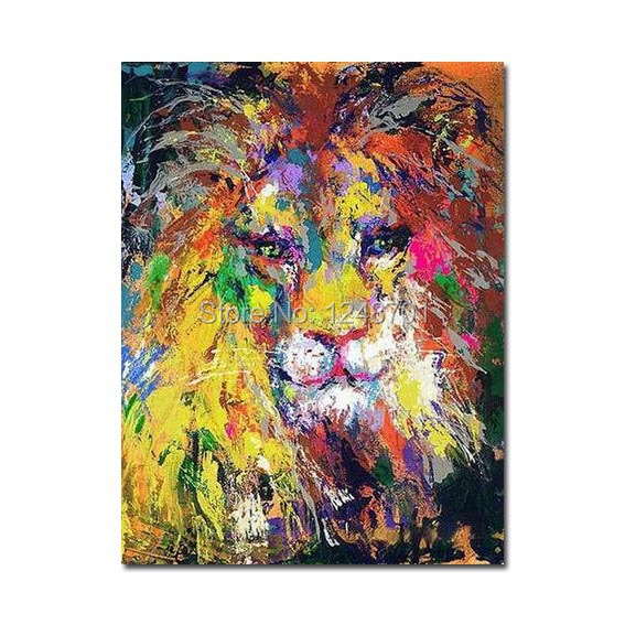 Colourful Lion oil painting Canvas Wall Art Animal oil painting-in ...