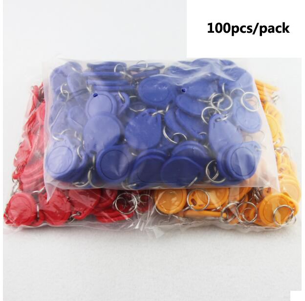 100pcs 13.56MHZ IC tags 1K S50 ABS waterproof ISO IC Key Fobs Access Control Keychain RFID Smart Card Tag 100pcs rfid tag 13 56mhz mif1 s50 key fobs re writable nfc tag for access control system