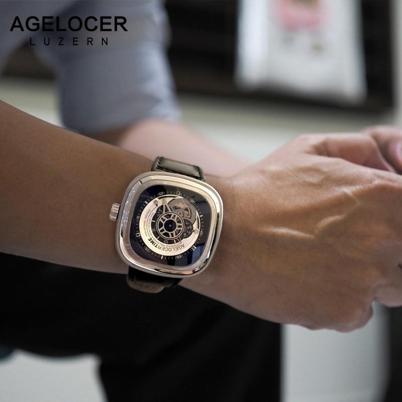 Agelocer швейцарский бренд Relogio Masculino автоматические часы из воловьей кожи ремешок Спортивные наручные часы Для мужчин Нержавеющаясталь Водон...