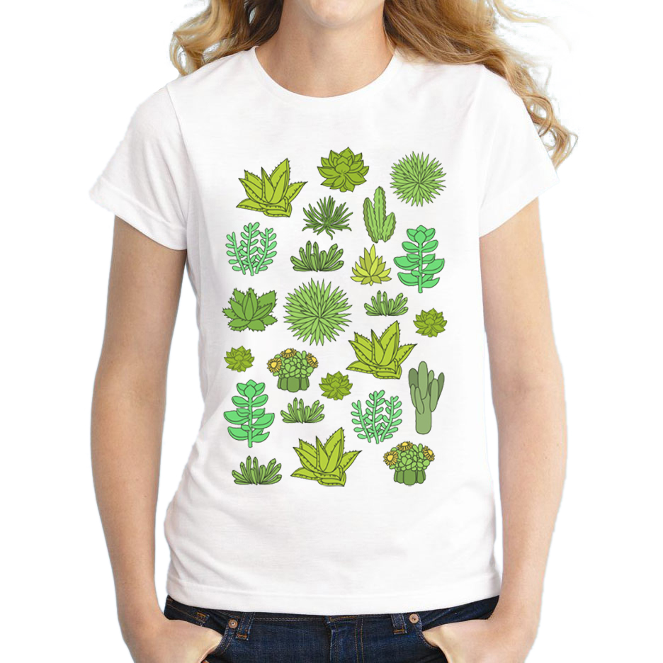 Wholesale Summer Cactus Printed Shirts Succulents T Shirt