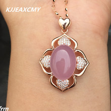 цена KJJEAXCMY boutique jewelry, Fenghuang stone powder chalcedony pendant wholesale 925 silver white gold rose gold craft онлайн в 2017 году