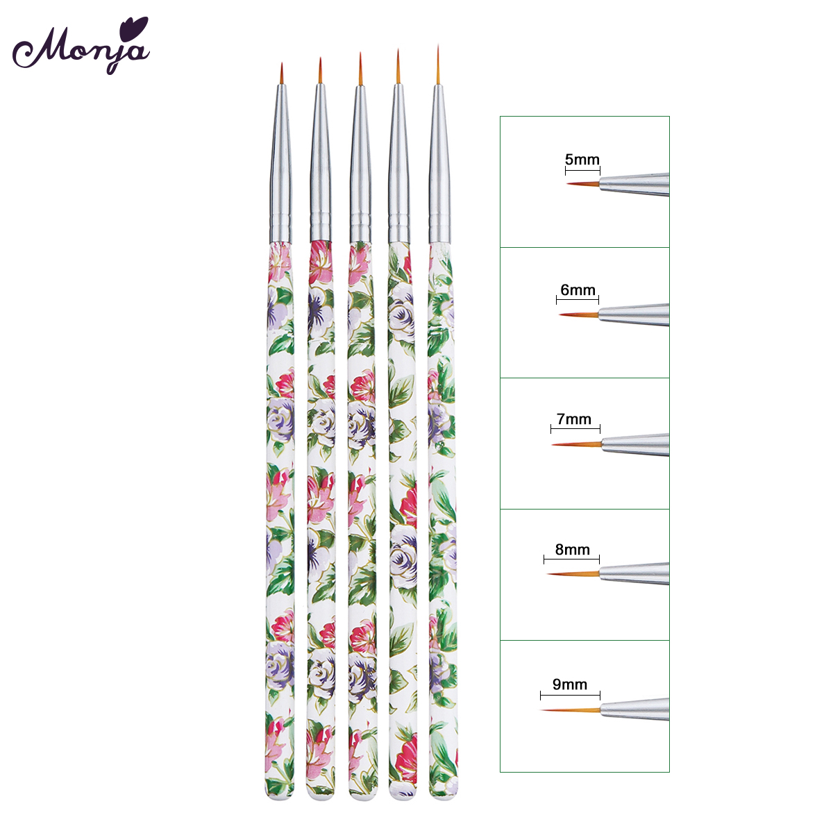 Monja 5pcs 5/6/7/8/9mm Nail Art French Flower Images Lines Stripes Painting Drawing Liner Brush Manicure Tools