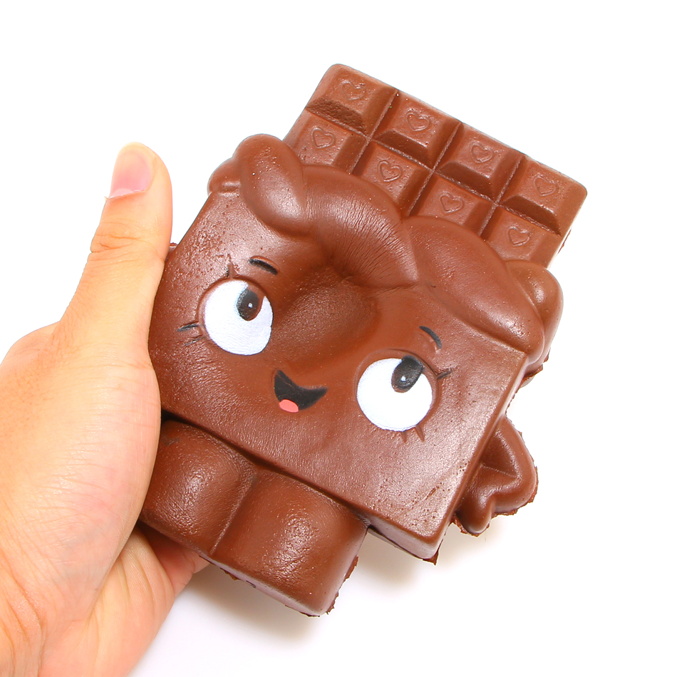 New Arrived 13CM Jumbo Smiling face Chocolate Squishy Slow Rising Sweet Scented Phone Strap-in ...