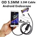 6 LED 5.5mm Lens Android USB Endoscope Waterproof Inspection Borescope Tube Camera with 3.5M Cable Mirror Hook Magnet
