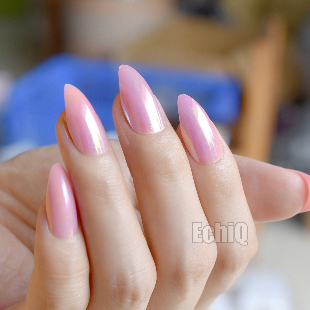 24pcs Kit Pink Full Fake Nail Tips Almond Shape Holographic Medium Pointed Acrylic Finished Nails With Glue Sticker E94 In False From Beauty Health