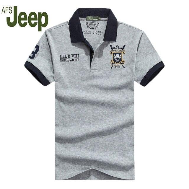 2016 AFS JEEP/Jeep Battlefield verano nueva camisa de polo de los hombres la solapa de los hombres ocasionales camisa de polo de manga corta floja grande de las yardas de polo 58