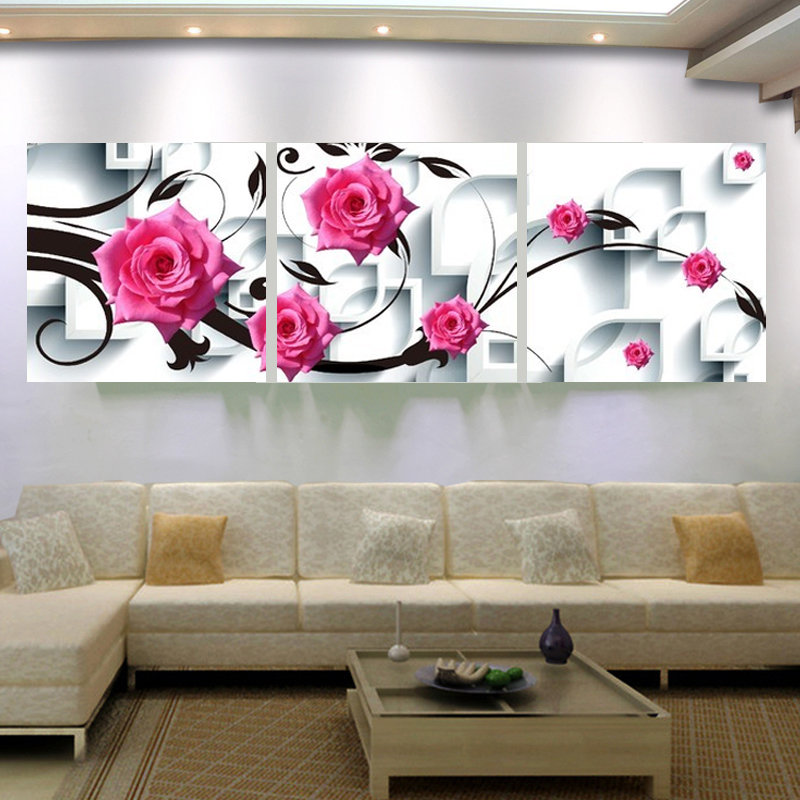 Large Canvas Wall Art Flower Canvas Painting 3d Rose Flower Wall