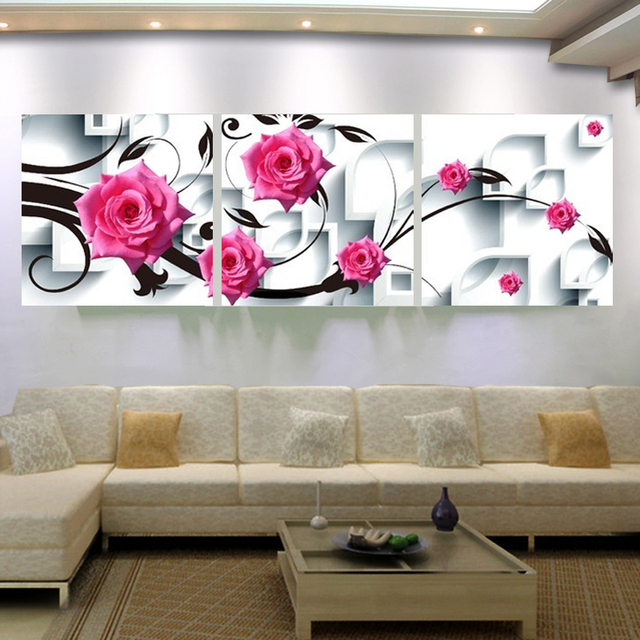 large pictures for living room wall open plan kitchen layout ideas canvas art flower painting 3d rose decor