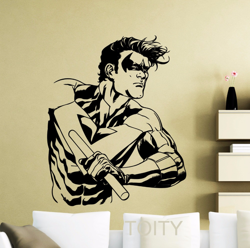 Nightwing Sticker Wall Art Cool Comics Superhero Vinyl Decal Dorm ...