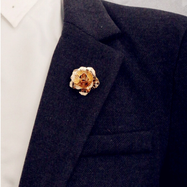 Rose Gold Color Flower Brooch Men Suit Collar Accessories Clic Lapel Pins For S
