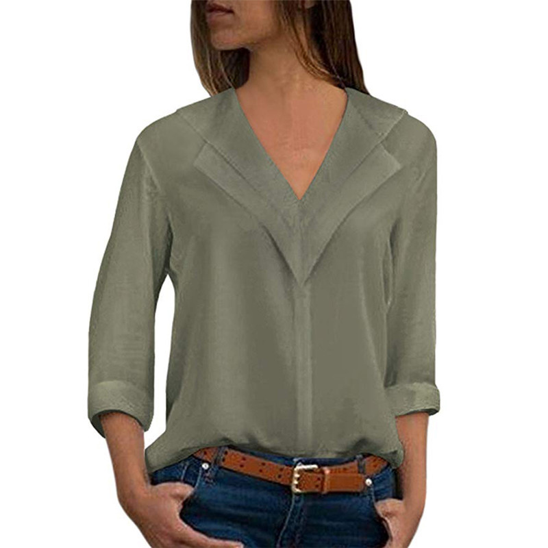 S 5XL autumn spring chiffon shirts pure color women long sleeve shirts v neck long sleeve women shirts plus size in Blouses amp Shirts from Women 39 s Clothing