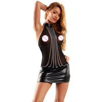 Sexy Backless Black Wetlook Mesh Leather Dress Halter See Through Vestidos Robe Vinyl Leather Dress Clubwear