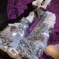 Lamentando Denim Jeans Rasgados Agujero Femenino Novio Ocasional de Señora Ahueca Hacia Fuera Patchwork Lentejuelas Pantalones A249