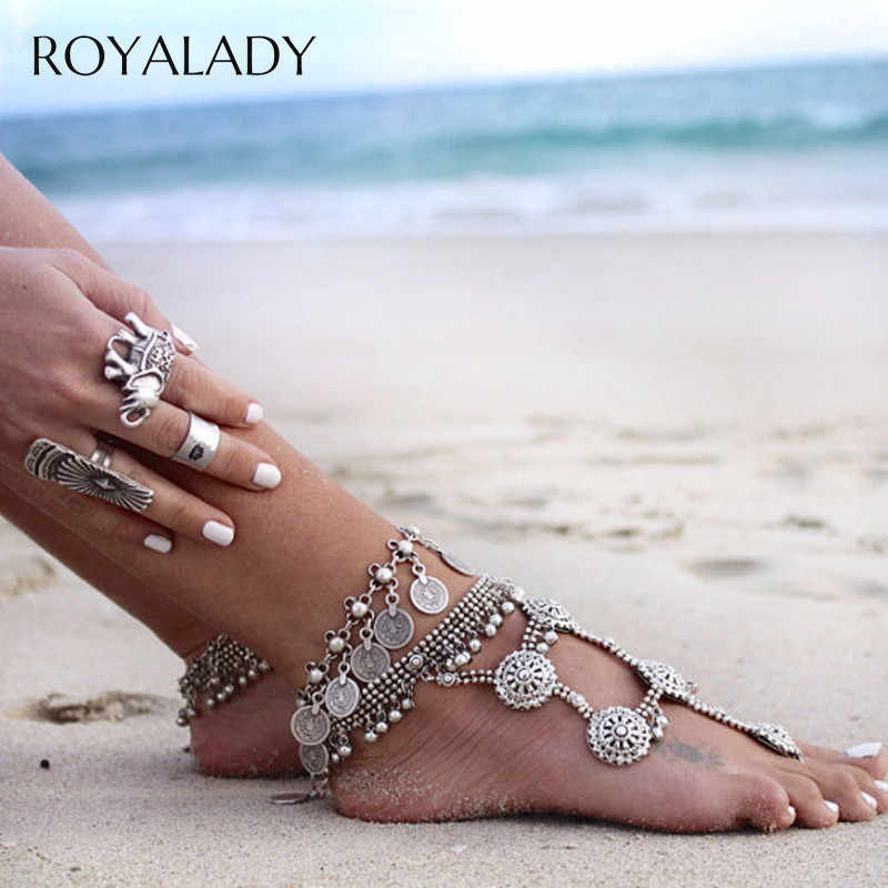 Vintage Multi Coins Anklet Boho Charms Tassels Silver Plated Foot Chain 2019 Summer Sandal Multilayer Pendant Ankle Foot Jewelry