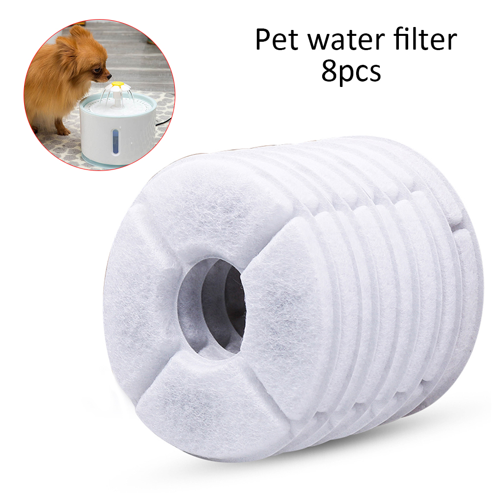 6pcs/8pcs 360 Degree Surrounding Activated Carbon Filters Charcoal Filter Replacement For Fountain For Pets Cat Dog Drink Water