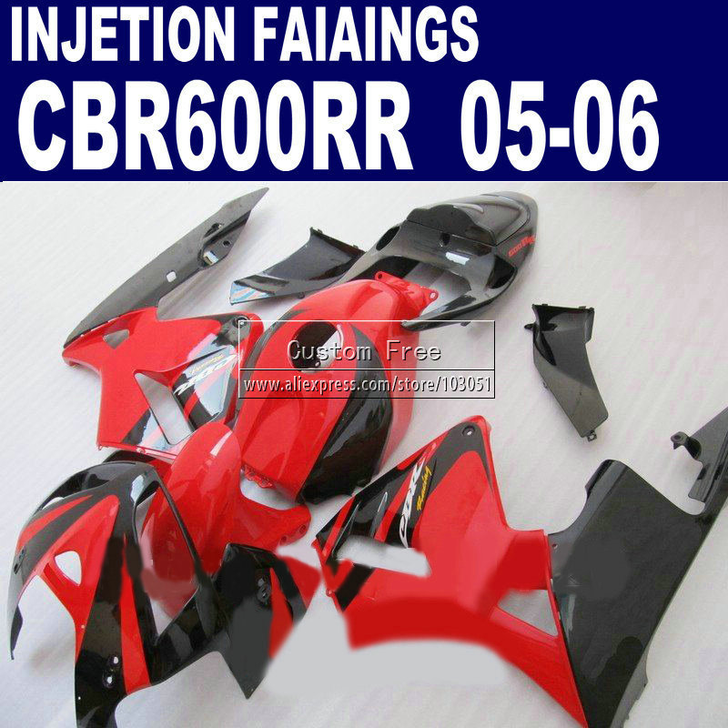 Motorcycle Injection fairings for Honda red black CBR 600 RR fairing 2005 2006 CBR 600RR CBR600RR 05 06 body repair parts hot sales 2007 2008 cbr600 fairing for honda cbr600rr f5 cbr 600 cbr 600rr 07 08 cbr 600 repsol fairing kit injection molding