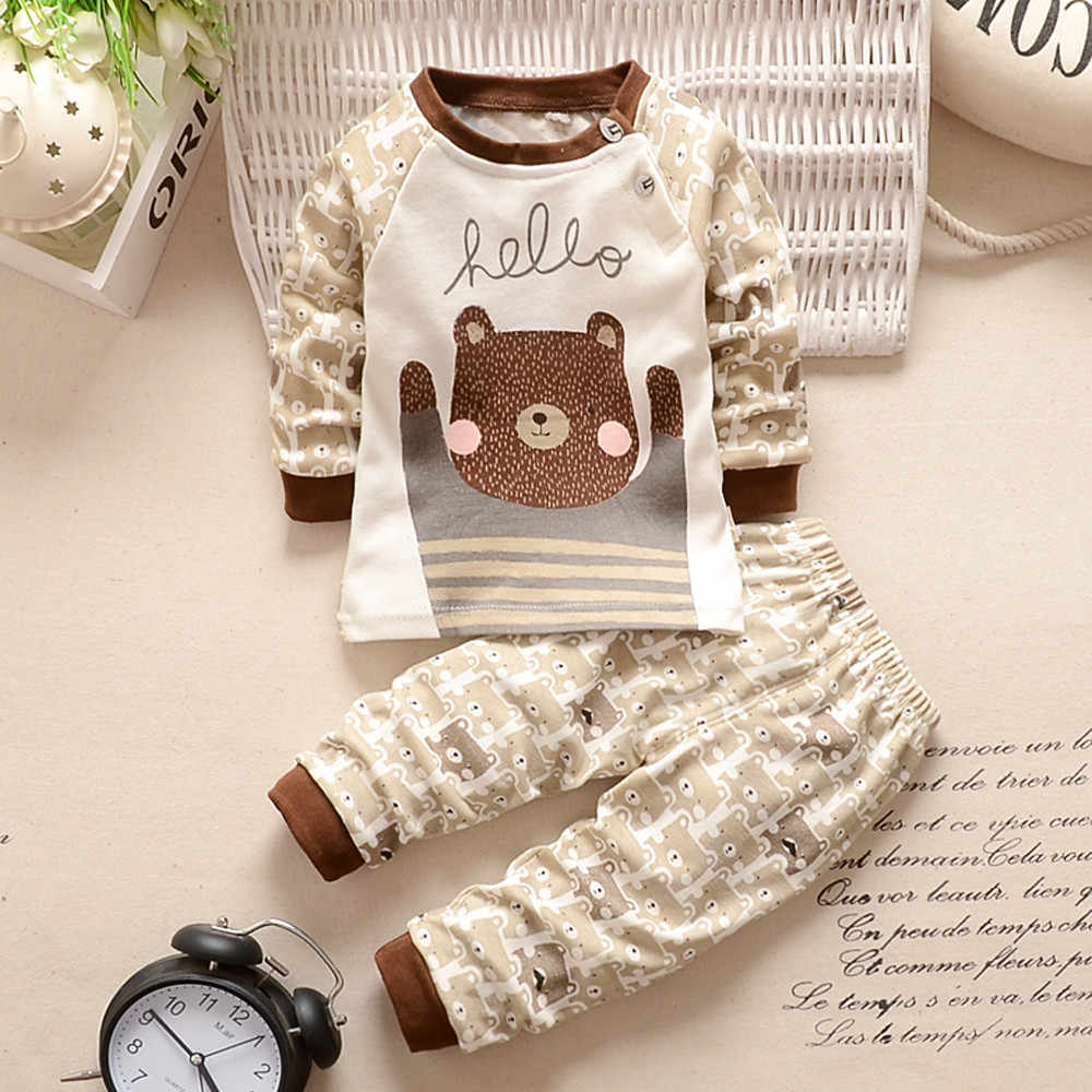 2PCS Newborn Baby Boy Winter Clothes Cartoon Print Top Pants Baby Clothes Boy Outfit Infant Clothing Babies Baby Newborn Set