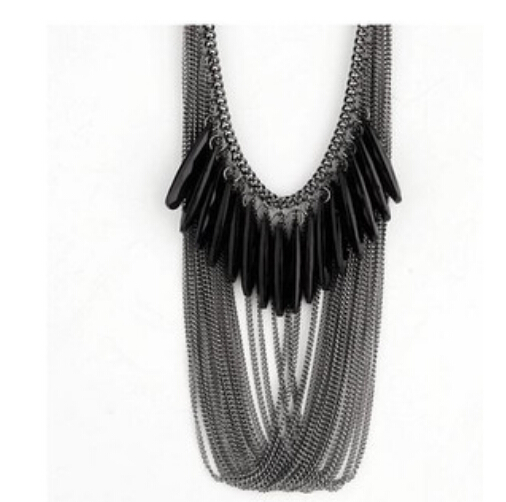 ZOSHI Fashion Women Necklace Statement Necklaces & Pendants Drop Acrylic Beads Tassle Multilayer Necklace For Women Jewelry