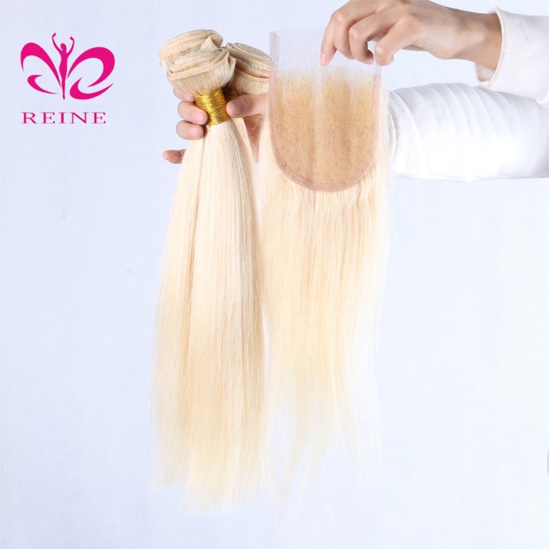 613 блондинка 3/4 пучки с закрытием прямые волосы приятный цвет бразильский 100% человеческих волос не Реми REINE магазине бесплатная доставка