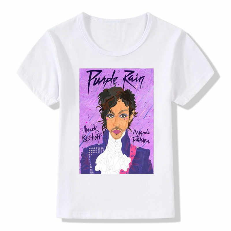 2019 çocuk baskı prens mor yağmur T-shirt yaz çocuk kız erkek kısa kollu T gömlek Casual bebek üstleri, ooo727