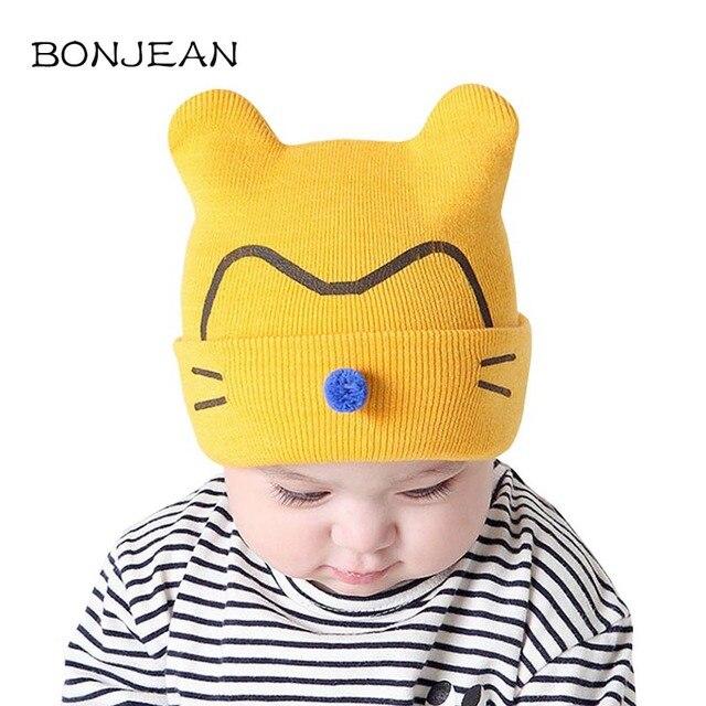 Musim gugur Musim Dingin Bayi Baru Lahir Topi Rajutan Kucing Pola Topi  Crochet Padat Anak Laki a574634d6a