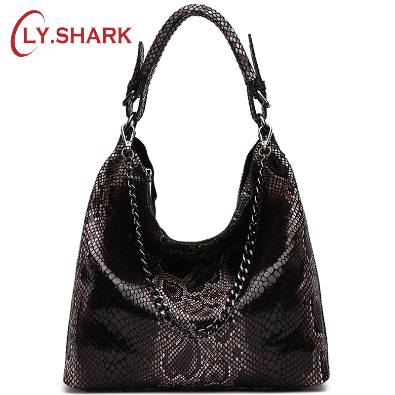 LY.SHARK Famous Brand Serpentine Pattern Genuine Leather Handbags Women Bag Female Crossbody Shoulder Messenger Bag Tote Hobos chispaulo women genuine leather handbags cowhide patent famous brands designer handbags high quality tote bag bolsa tassel c165