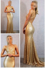 evening dress 2014 vestidos longos de gala v neck backless elegant mermaid gold sequined para festa casamento customed