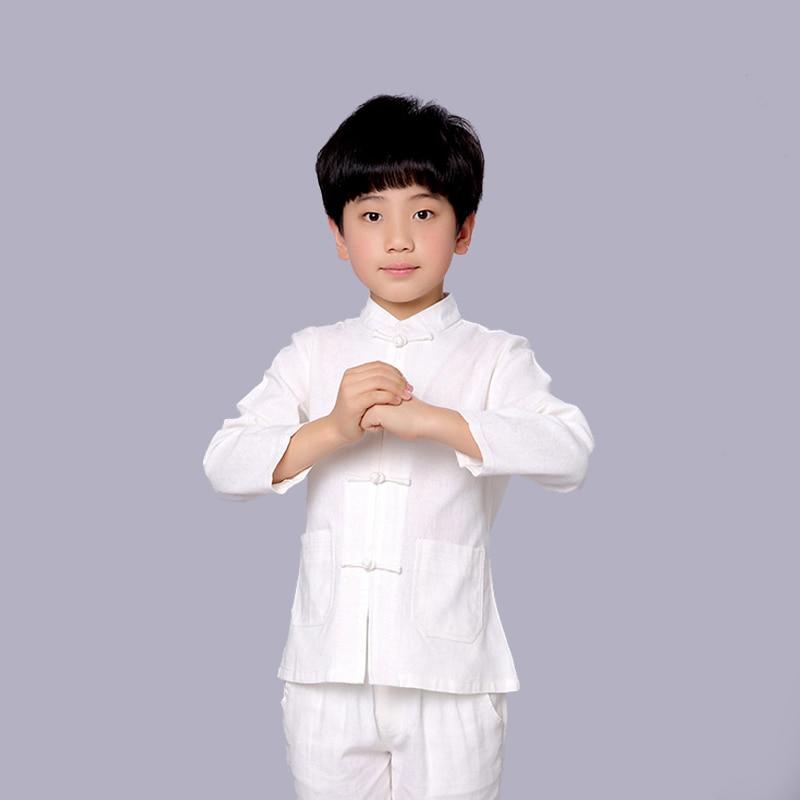 Nouveau automne enfants solide blanc à manches longues chemise 100% coton Style chinois garçons Kung Fu veste manteau Dramaturgic Costume YZT0825