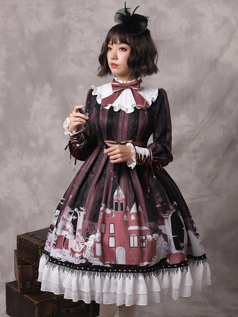 New Women Autumn Long Sleeves Printing Ruffles Cute Bowknot Kawaii Sweet Lolita Dress Wholesale Free Shipping
