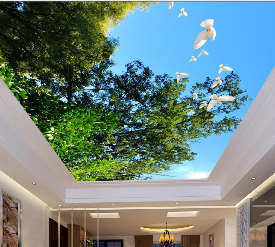 ᐅdostosuj 3d Obraz Drzew Blekitne Niebo Sufit Bialy Golab Sufit 3d