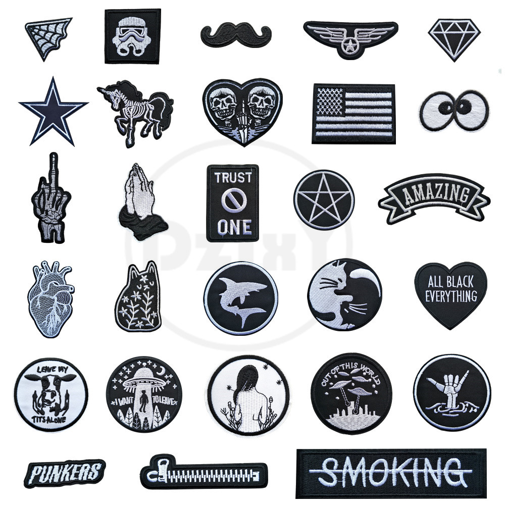 (46 Styles) 1 PCS Black and White Patches for Clothes Iron on Finger Appliques DIY Skull Stripes Embroidery Sticker Round Badges(China)