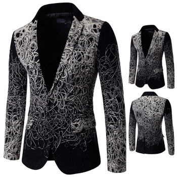 D060 European and American High-end disc flower Man Blazers trend single breasted leisure suit