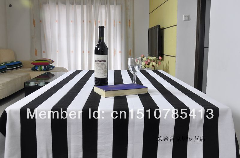 Free Shipping Black And White Striped Tablecloth 100% Cotton Kitchen Table  Cloth Rectangular Different Sizes Part 42