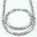 Cor retro grego bizantino colar pulseira set para os homens de prata chave da cadeia de conjuntos de jóias para o homem menino de presente de aço inoxidável VJS111
