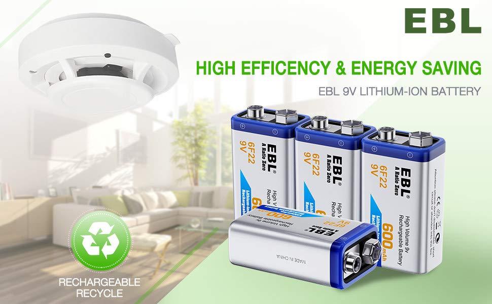 6F22 9-Volt-Block 600mAh 2x 9V EBL Akku Li-ion Rechargeable Batterien