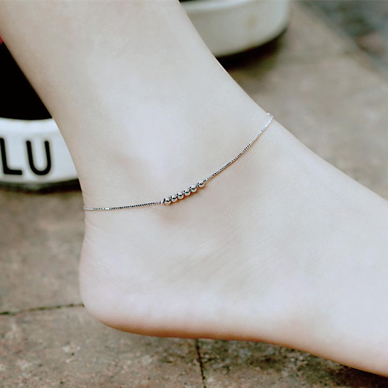 Red Trees Brand Summer Fine Jewelry 925 Sterling Silver Anklet For Women / Girls Gift Fashion Simple Ankle Bracelet Silver