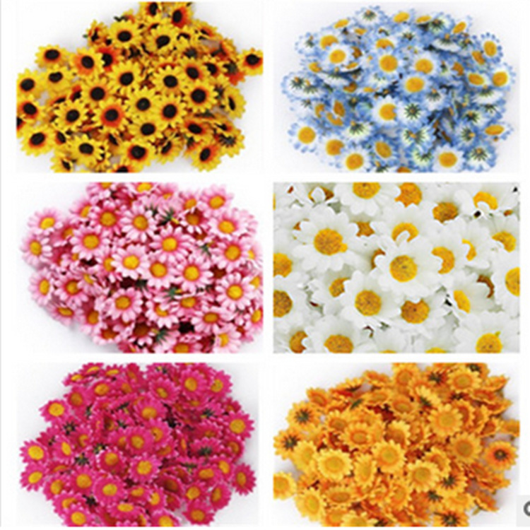 100Pcs Small Daisies Sun Flower Artificial Silk Flower Heads For Wedding Decor DIY Wreath Gift Scrapbooking Craft Supplies