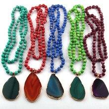 1116f765b62a Moda piedras Semi preciosas largo anudado Agat COLLAR COLGANTE para las  mujeres collar étnico