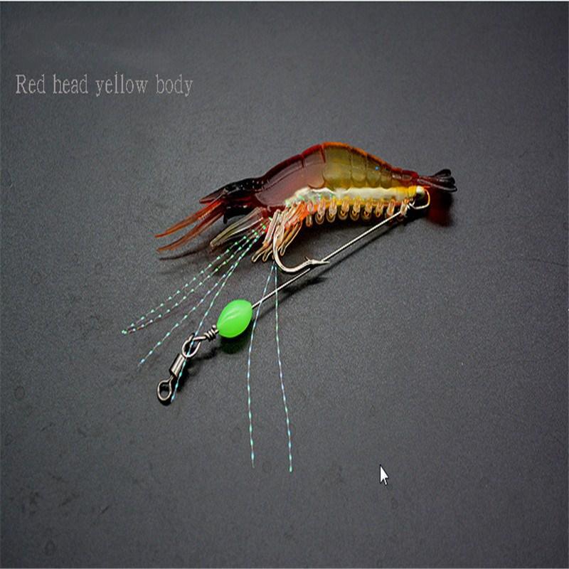 8cm Soft Shrimp Fishing Prawn Lure Hooks Baits with Luminous Beads Swivels