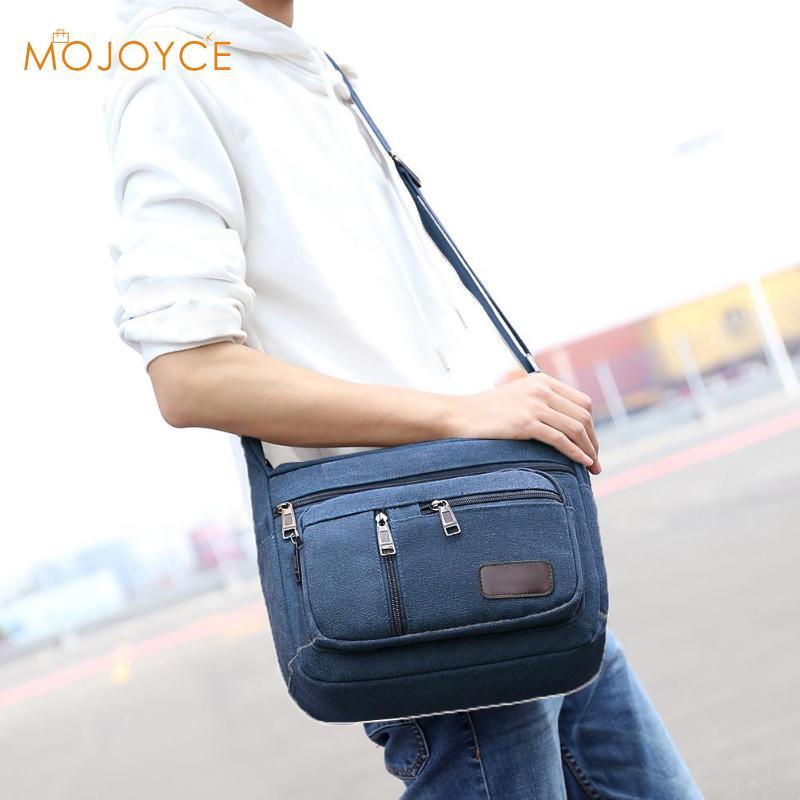 New Sale Men Canvas Handbags Single Strap Male Shoulder Bags Solid Zipper School Bags For Teenager Casual Travel Handbags