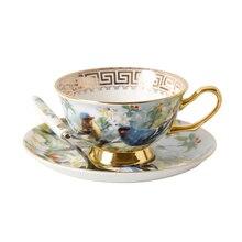 Пасторальный стиль, пномкость, Китай, чашка, блюдце, набор, послеобеденный чай, черный чай, чашка, блюдо, ложка, керамическая кофейная чашка, подарок