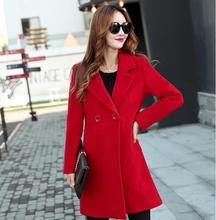 купить Women Basic Coats Fashion lady winter coat Red Long Coat made in China woolen overcoat High quality clothes free shipping по цене 3612.18 рублей