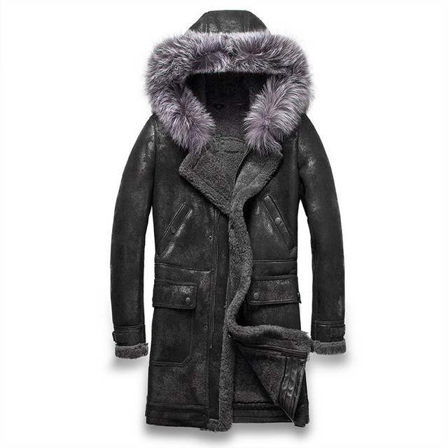 0151af75306 Mens Genuine Leather Jackets Real Fur Coats 100% Sheepskin Shearling Jackets  Thickening Hood Warm Outwear Overcoat Snow Tops New
