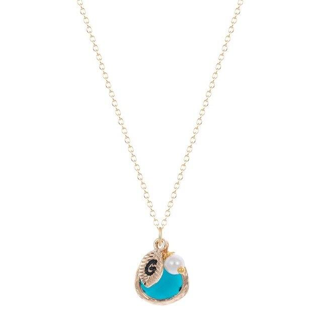 Qiming Dark Blue Stone Necklace Fashion Pendant Bridesmaid Gifts Jewelry Boho Women